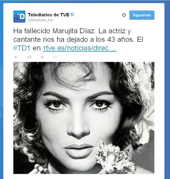 Tweet del fallecimiento de Marujita Díaz con la imagen de Sara Montiel, TVE