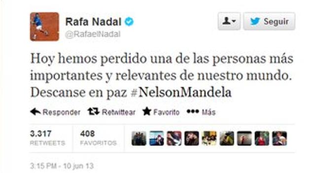 Mensaje de Rafa Nadal en Twitter sobre Nelson Mandela