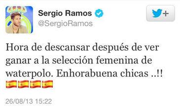 Tuit donde Sergio Ramos felicitaba a l equipo femenino de waterpolo