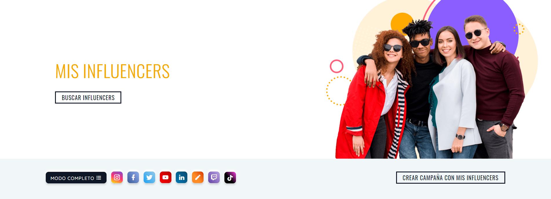 Interfaz del perfil de anunciantes y agencias de SocialPubli