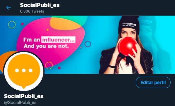 Perfil de SocialPubli en Twitter