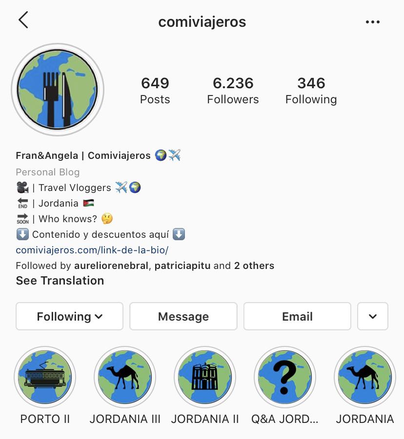 Perfil de Instagram de Comiviajeros