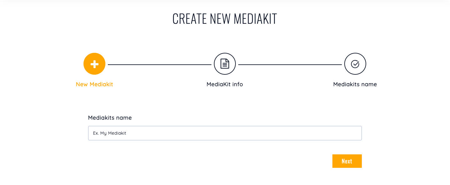 Mediakit's welcome page