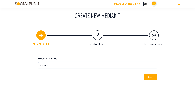 Pantalla de inicio de Mediakit de SocialPubli, donde deberás ponerle nombre al archivo